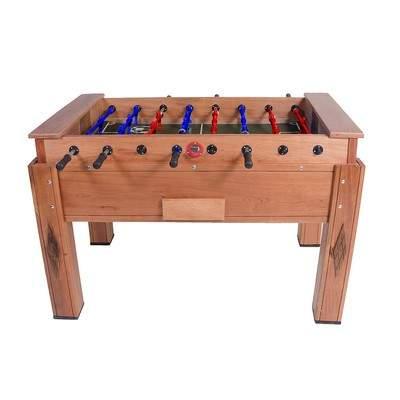 Mesa de pebolim tamanho oficial em madeira maciça cedro com gaveta e varão embutido cor natural