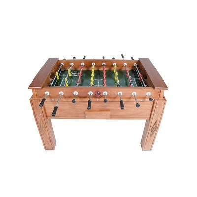 Mesa de pebolim oficial madeira maciça com gaveta e varão embutido cor natural