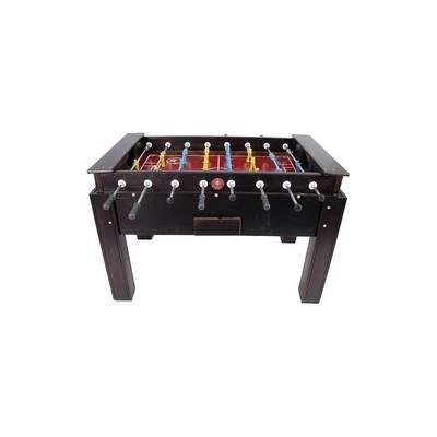 Mesa de pebolim tamanho oficial em madeira maciça com gaveta e varão passante cor Tabaco